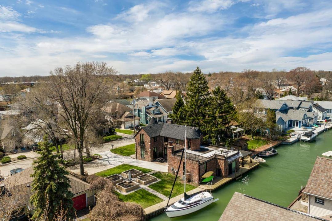 A vista aérea da casa