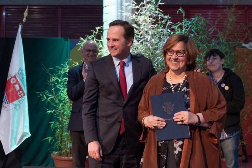Fernando Medina e Margarida Martins, na cerimónia de assinatura do acordo / CML