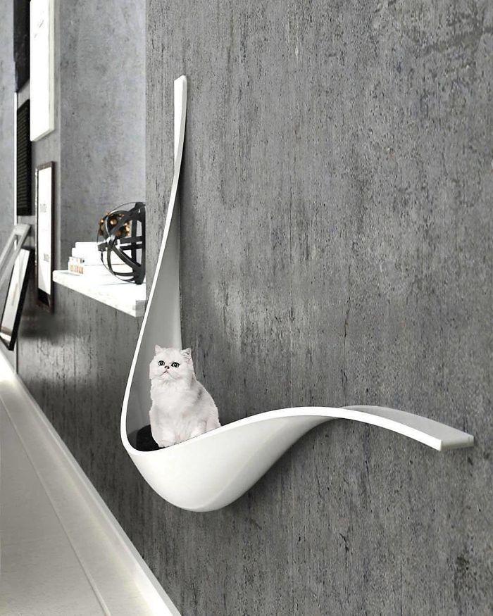 Um pouso de design para os gatos descansarem