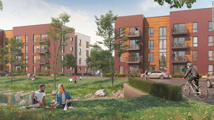 Projeto de habitação acessível em Worthing, no sul de Inglaterra. / Boklok