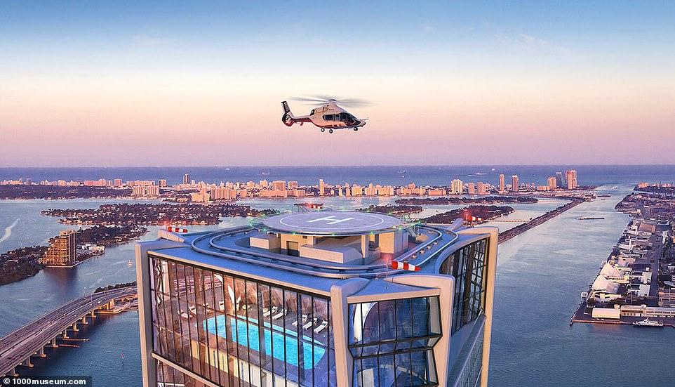 Um heliporto no terraço