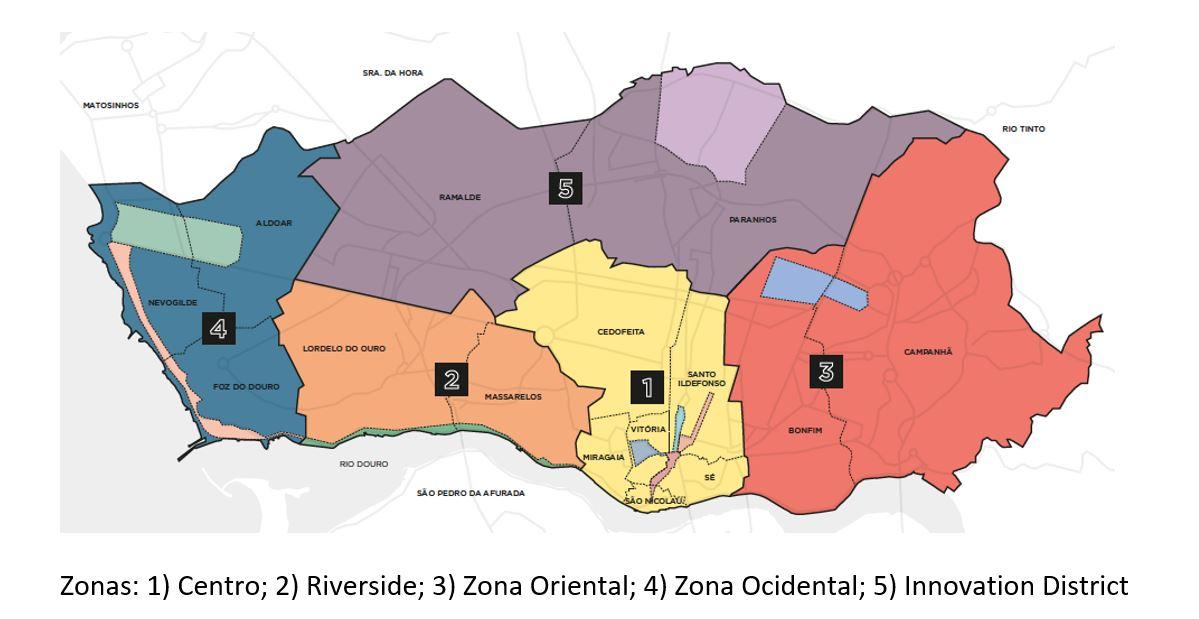 Mapa do Porto por zonas / Avenue