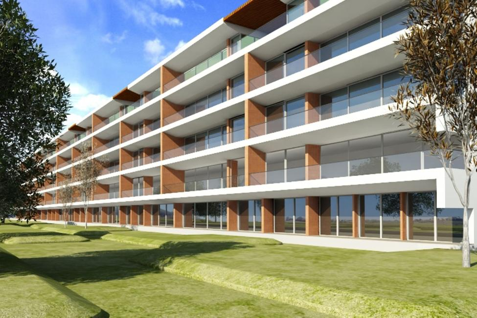 O empreendimento terá 62 apartamentos, numa área de 16.800 m2 / Telhabel