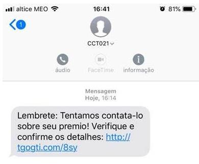 O SMS que está a ser enviado / Via site Segurança Informática