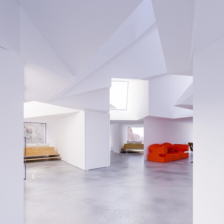 Toques de cor num espaço branco