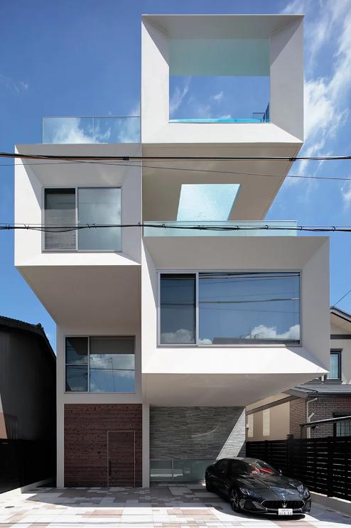 Uma casa feita com cubos empilhados