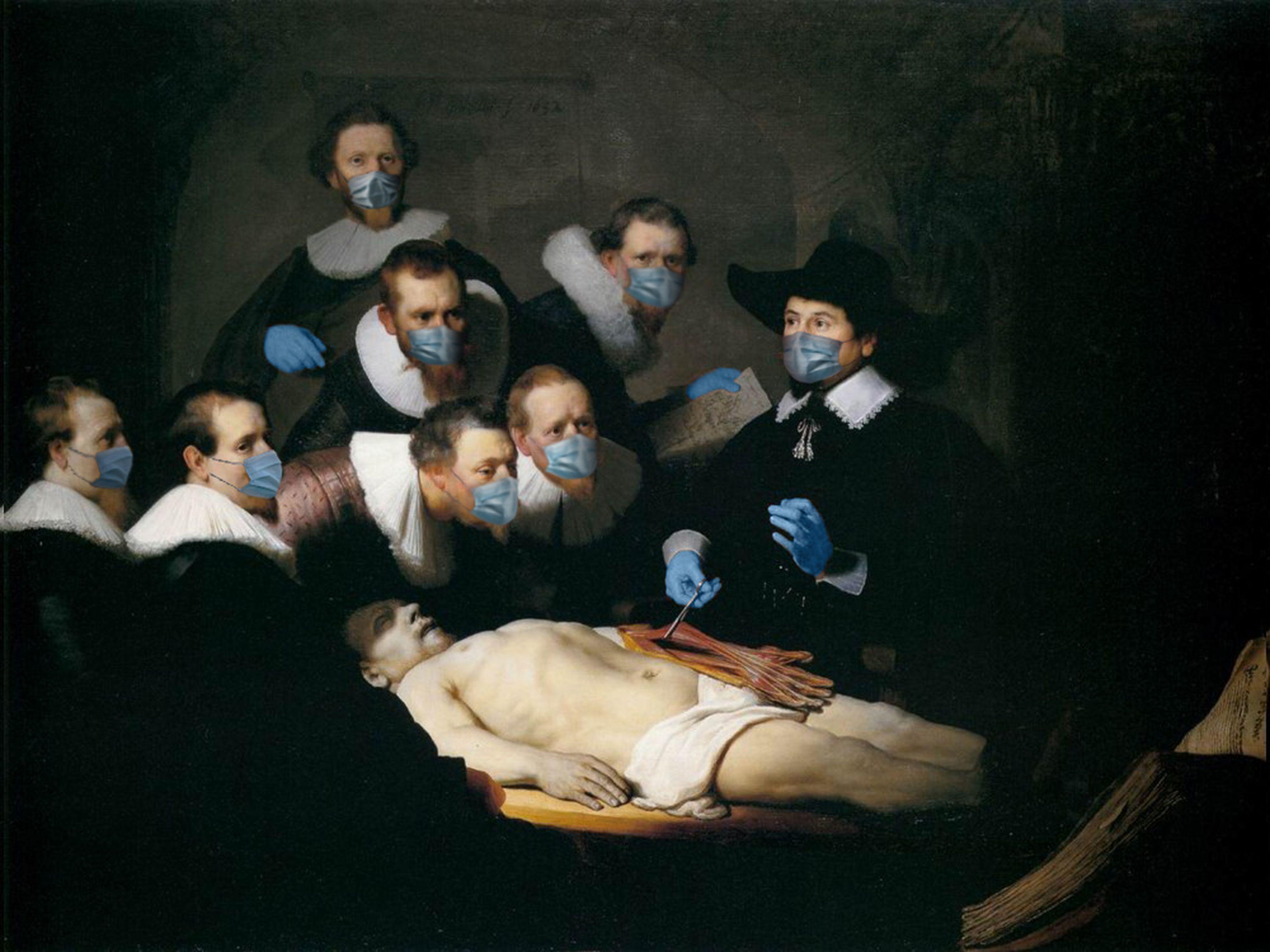 A lição de anatomía do Dr. Nicolaes Tulp / Rembrandt/POA Estudio