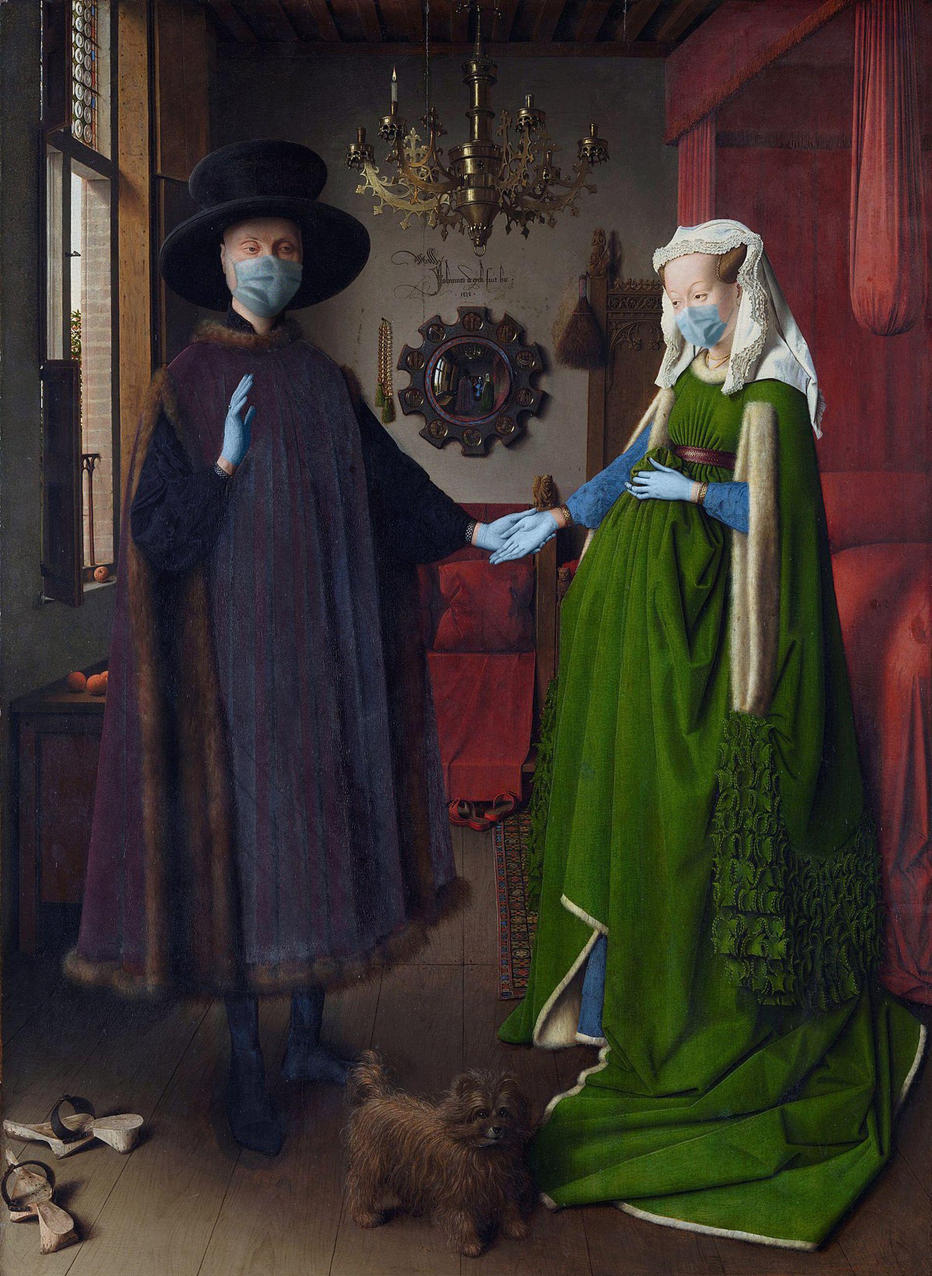 Retrato de Giovanni Arnolfini e sua esposa / Jan van Eyck/POA Estudio