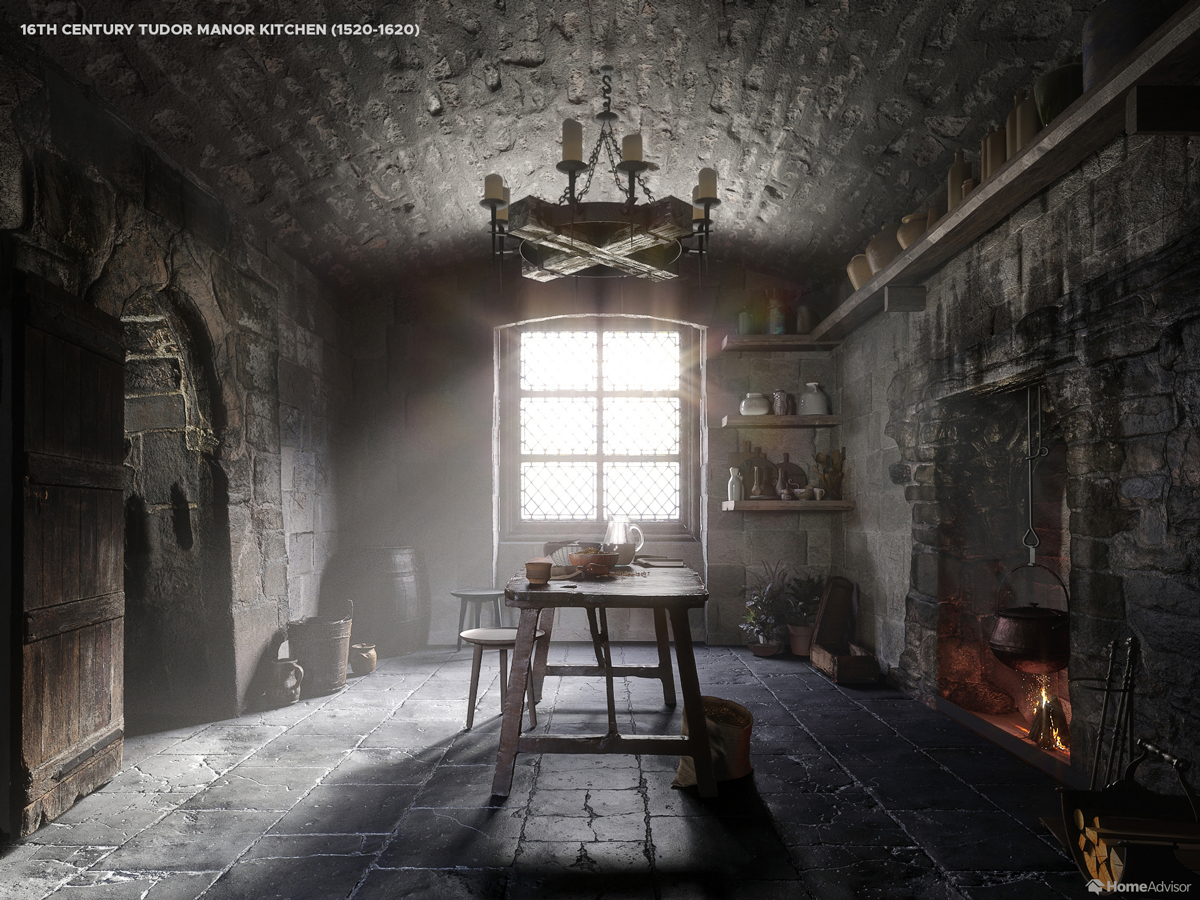 16th Century Tudor manor kitchen (1520-1620)