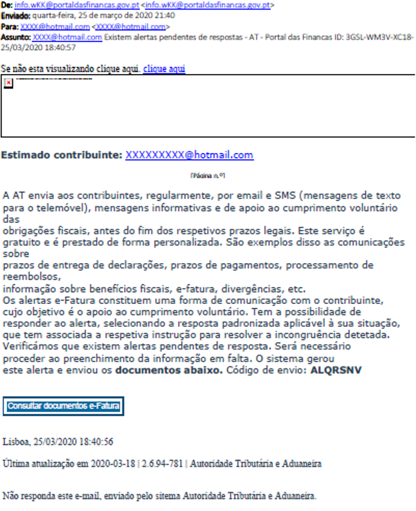 Exemplo do email fraudulento / AT