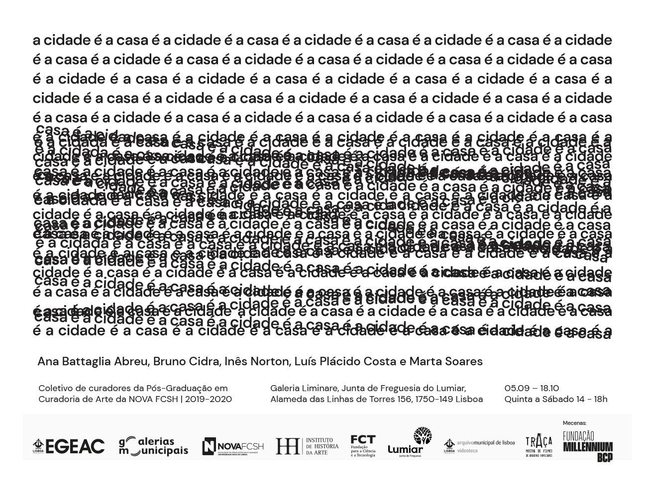 """Convite da exposição """"A cidade é a casa é a cidade é a casa"""" / Coletivo de curadoria"""