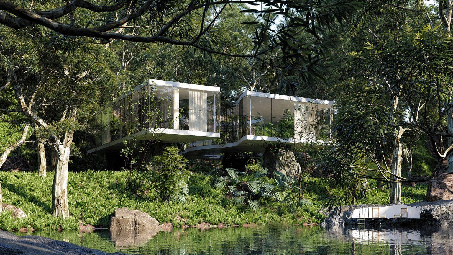 Uma casa rodeada de espaços verdes