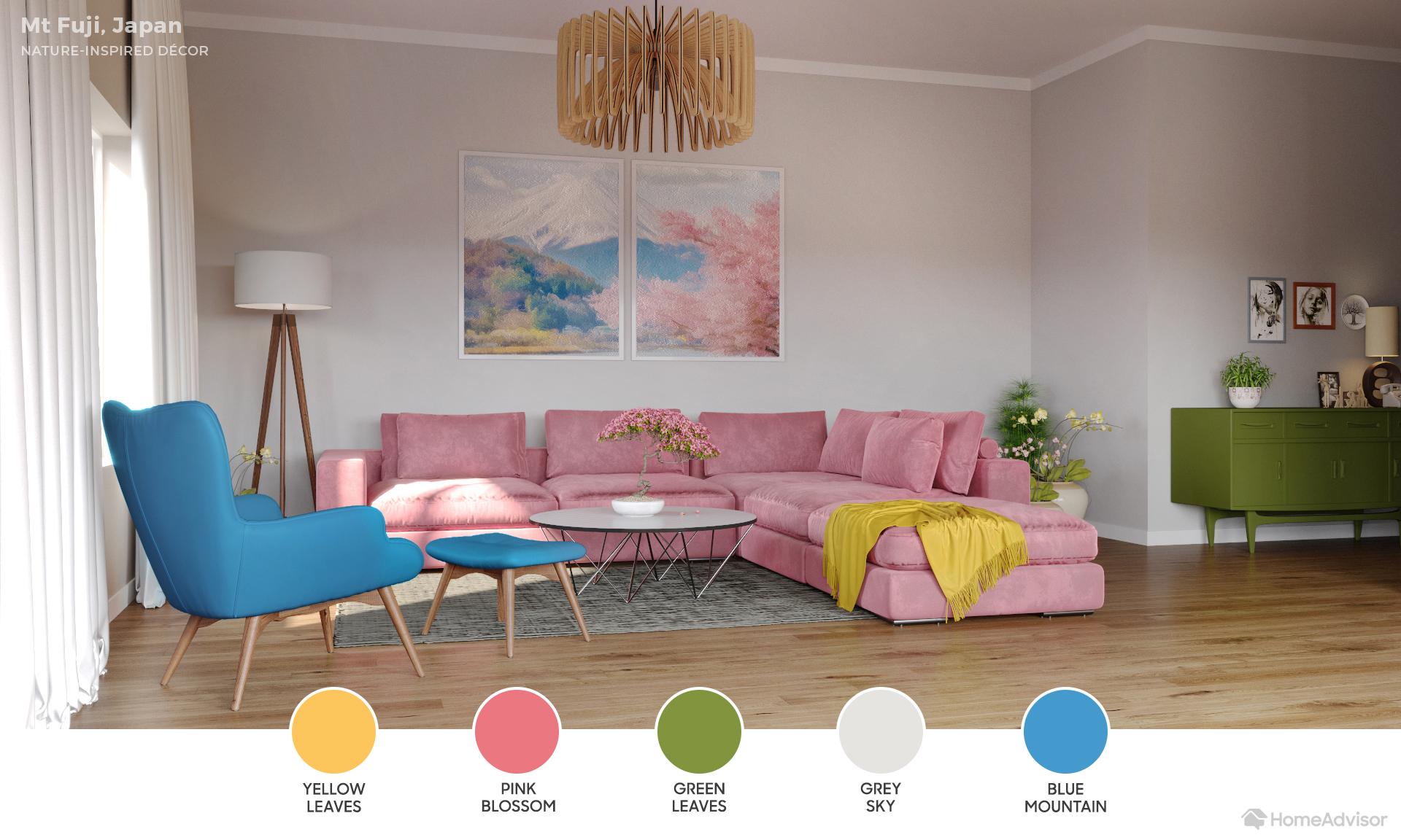 Paleta de cores inspirada no Monte Fuji, Japão / HomeAdvisor