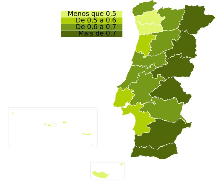 Imóveis residenciais per capita por distrito / Fonte: INE