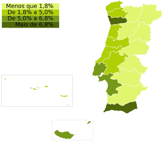 Indicador de stock de venda por distrito / Fonte: idealista/data