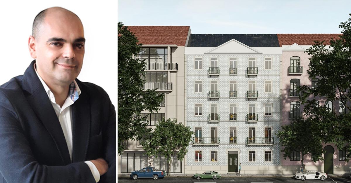 Nuno Dias (esq) e o Edifício na Avenida Visconde Valmor, em Lisboa  / Madre Imobiliário