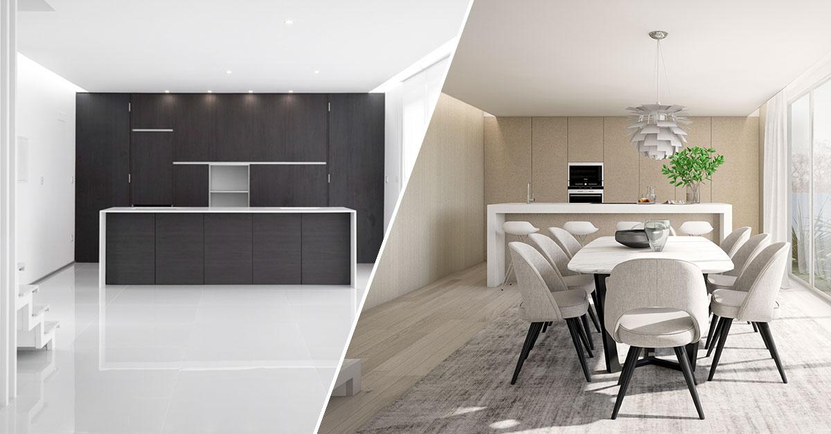 Cozinha Real (à esquerda) e 3D Cozinha (à direita) / Fábrica das Casas