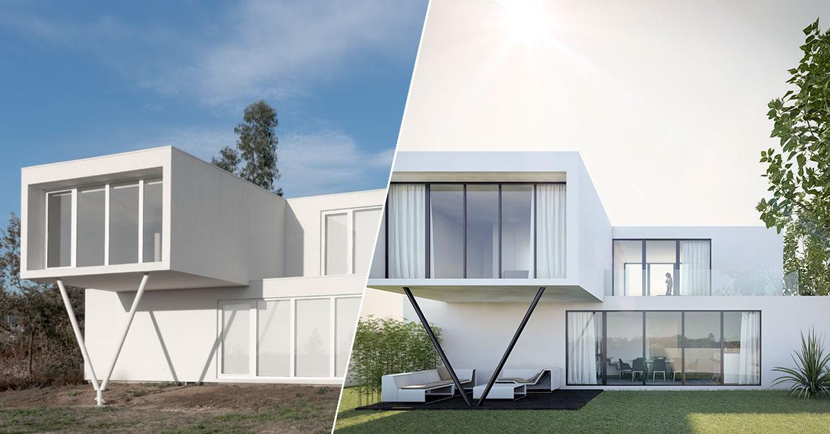 Exterior Real (à esquerda) e 3D Exterior (à direita) / Fábrica das Casas