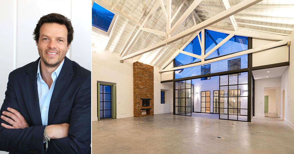 Vasco Pereira Coutinho, diretor geral da Lince, e ao lado um loft em Alcântara que é comercializado pela mediadora / Lince Real Estate