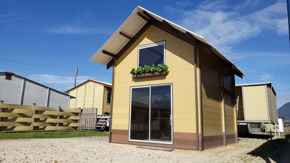Casas pré-fabricadas feitas com cascas de café