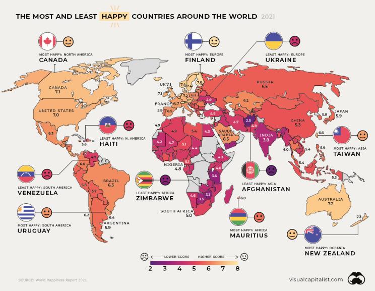 Os países mais felizes e infelizes do mundo e 2021 são…