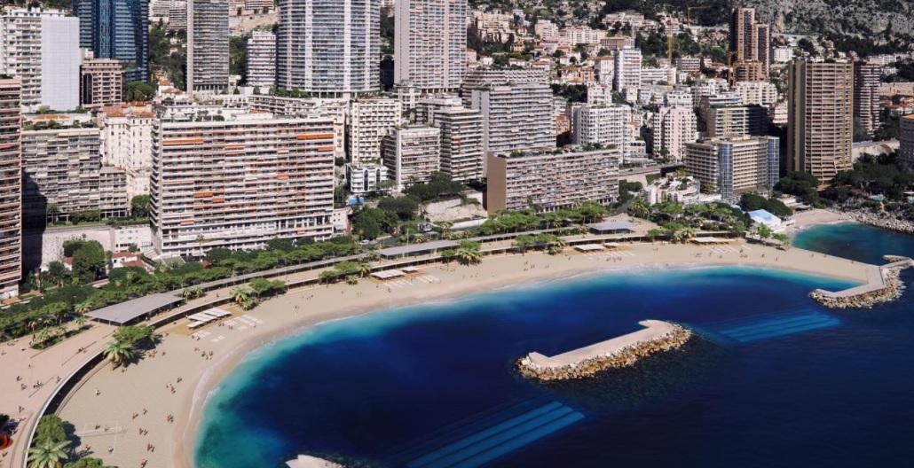 Praia de Larvotto no Mónaco renovada por Renzo Piano
