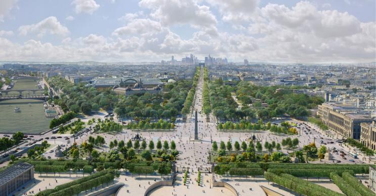 Os planos de Paris para transformar os Campos Elíseos num grande jardim