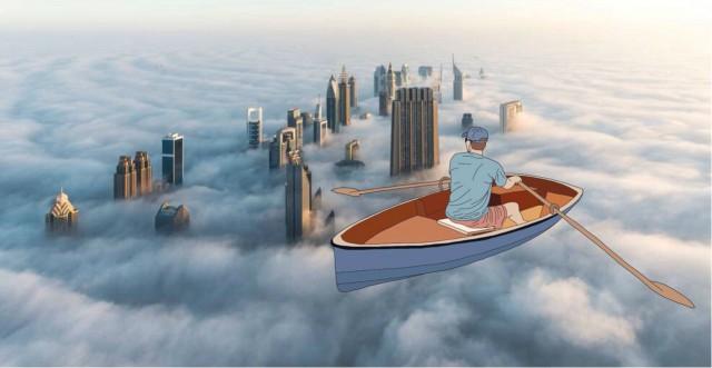 O Dubai visto do céu (Foto: Julia Borzucka).