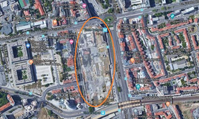 Antigos Terrenos da Feira Popular / Google Maps