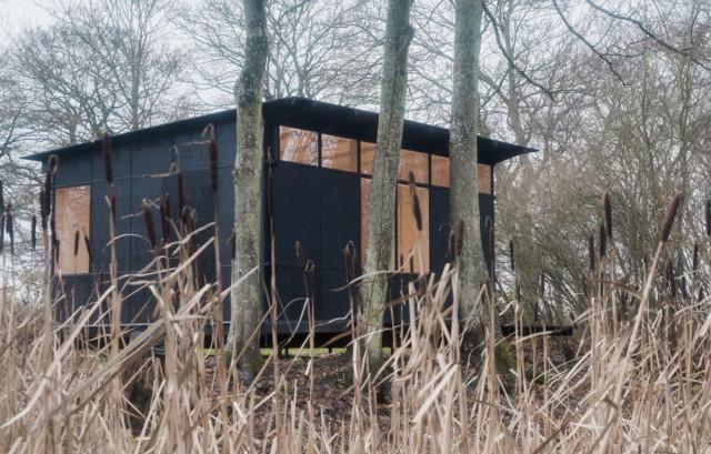 casa de madeira pré-fabricada entre árvores no campo