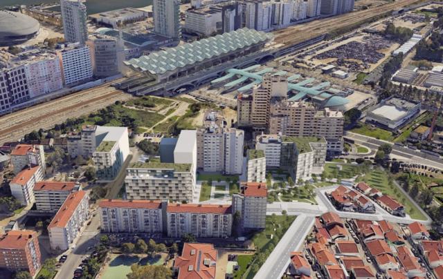 Imagem das fachadas e enquadramento urbanístico dos edifícios da área de intervenção do Parque das Nações. / AML/CML