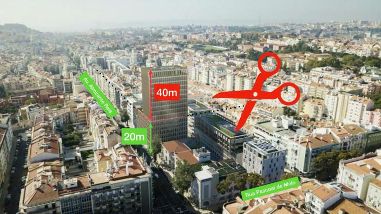 Projeto inicial do Portugália Plaza previa a construção de uma torre com 60 metros / Facebook Stop Torre 60m Portugália