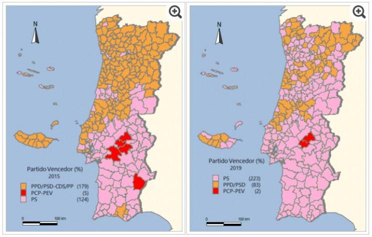Legislativas 2019 Vs 2015 O Mapa De Portugal Esta Mais Rosa