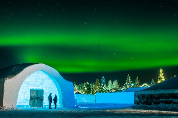 As vistas impressionantes do Ice hotel
