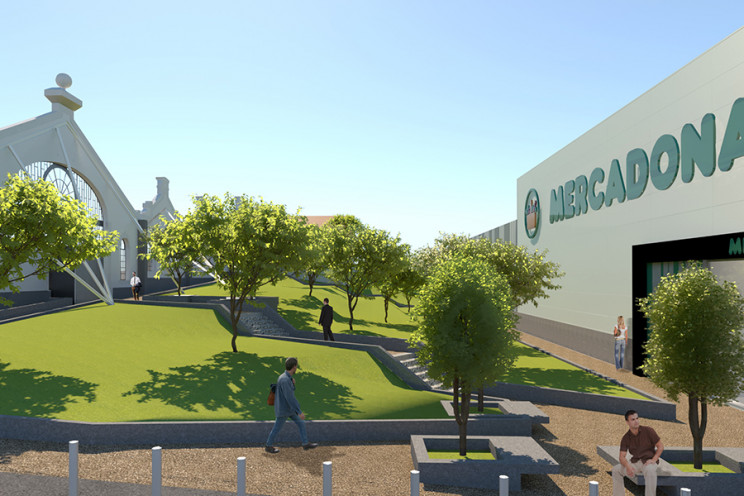 Jardim de utilização pública, que ficará situado entre a fachada da antiga Fábrica de Sá e da loja Mercadona. / Mercadona