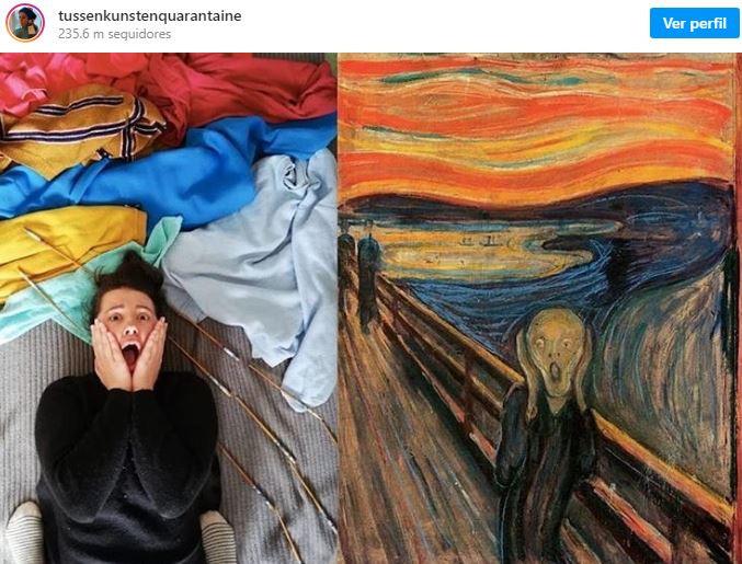 """Recriação de """"O Grito"""" de Edvard Munch /  @tussenkunstenquarantaine"""