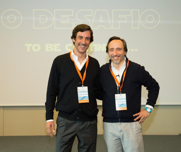 Os mentores do Desafio: Gonçalo Nascimento Rodigues(à esquerda) e Massimo Forte (à direita) / Maio de 2018