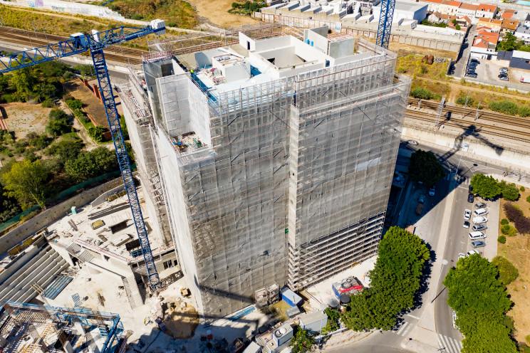 Imagem aérea da nova sede da Ageas em Lisboa, no Parque das Nações / Grupo Ageas Portugal
